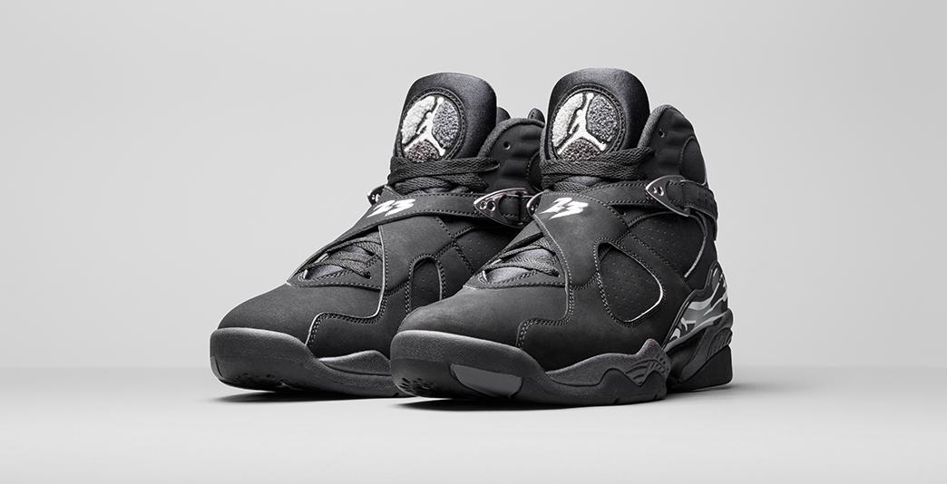 Nike Air Jordan 8 Black and Chrome