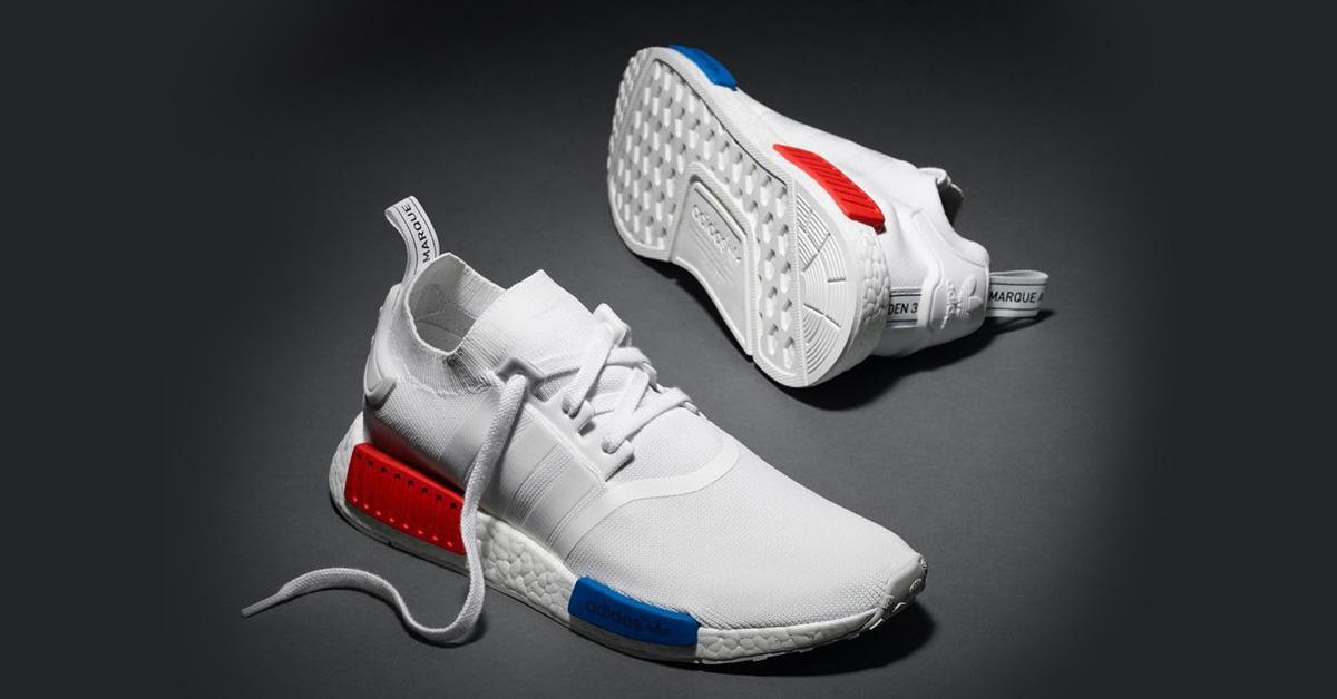adidas nmd hvid blå rød