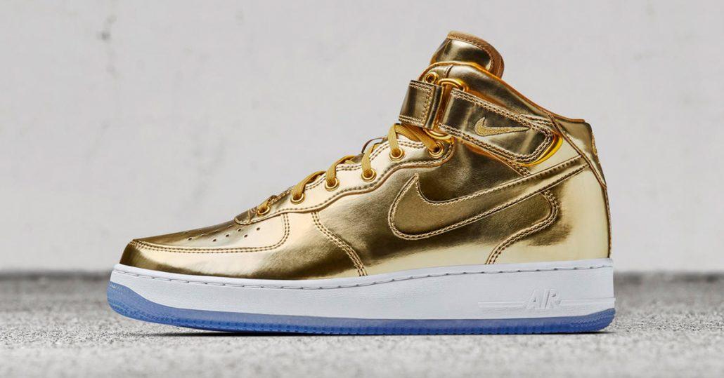 Nike Air Force 1 Mid Metal Gold Cool Sneakers