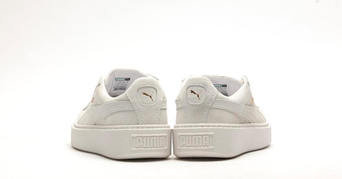 puma platform white suede