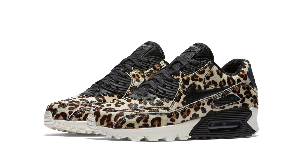Womens Nike Air Max 90 LX Grey Leopard Cool Sneakers