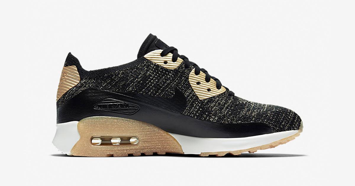 Womens Nike Air Max 90 Ultra 2.0 Flyknit Black Metallic Gold