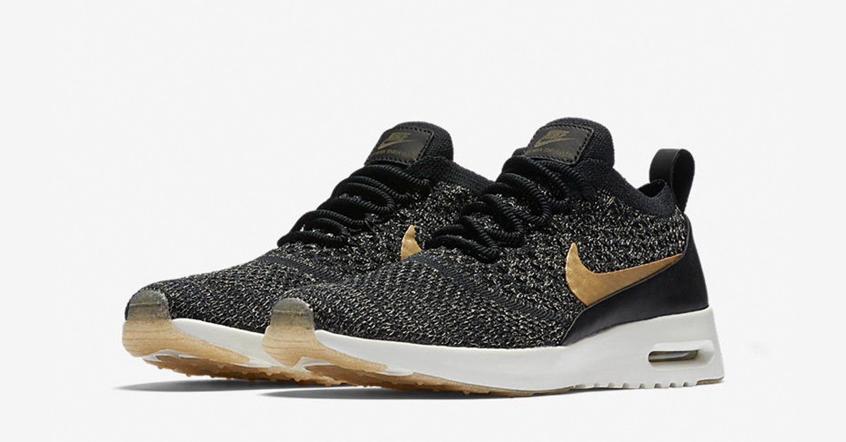 buy online 8f51f 32708 Nike Air Max Thea Ultra Flyknit Black Metallic Gold - Cool Sneakers