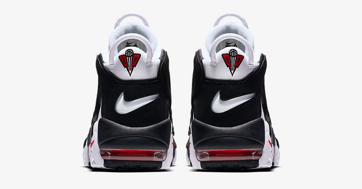 sort hvid mænd sko billig salg nike air more uptempo white university red black