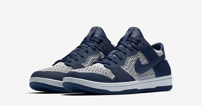 Nike Dunk Low Flyknit College Navy Wolf Grey