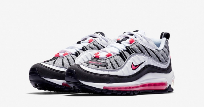 Womens Nike Air Max 98 White Solar Red Reflect Silver AH6799-104