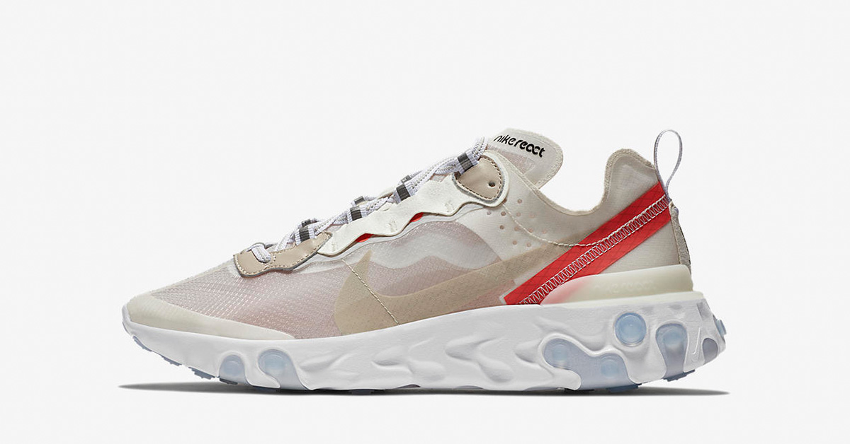 Nike React Element 87 Sail Rush Orange AQ1090-100