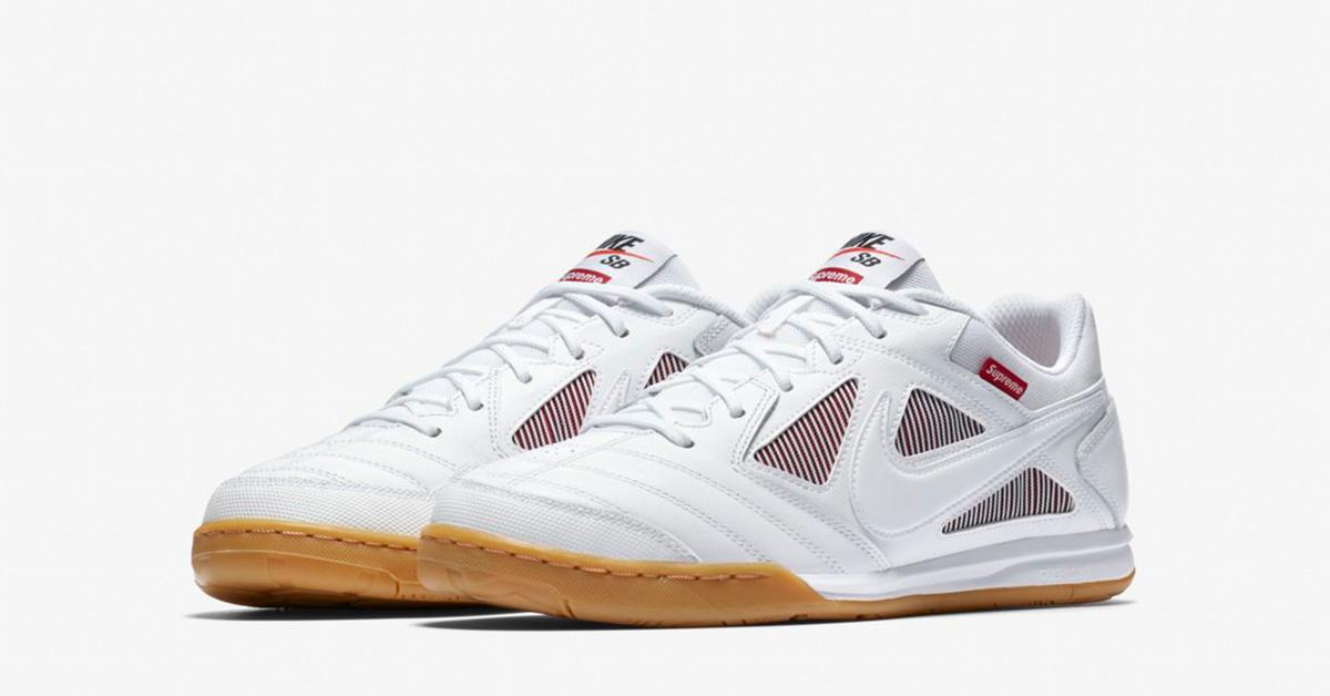 Supreme x Nike SB Gato White Gym Red Cool Sneakers