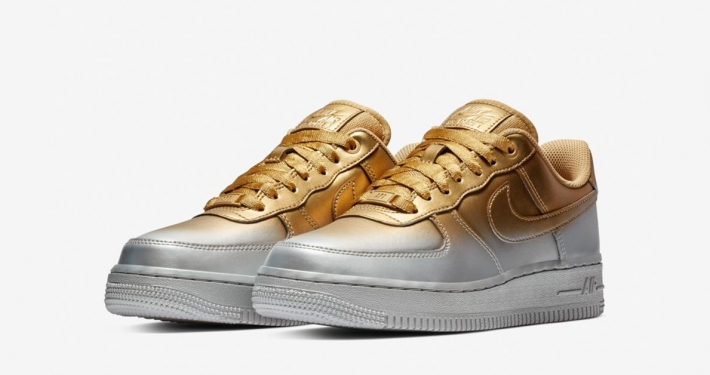 info for 40fb1 d9169 Nike Air Force 1 Low Guld Platin til Kvinder
