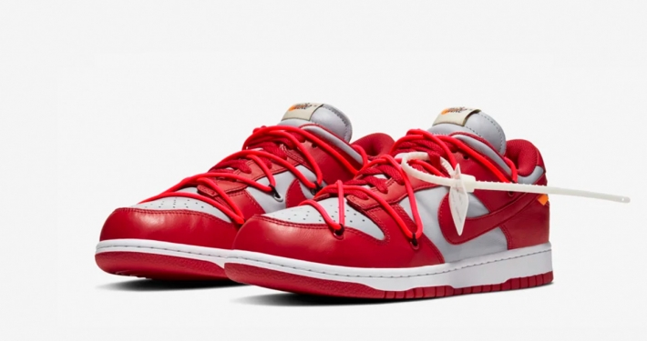 Off-White x Nike SB Dunk Low Rød Hvid