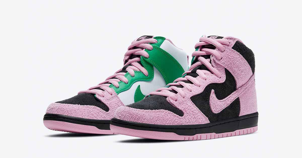 Nike SB Dunk High Invert Celtics CU7349-001 —Black-Pink Rise-Lucky Green