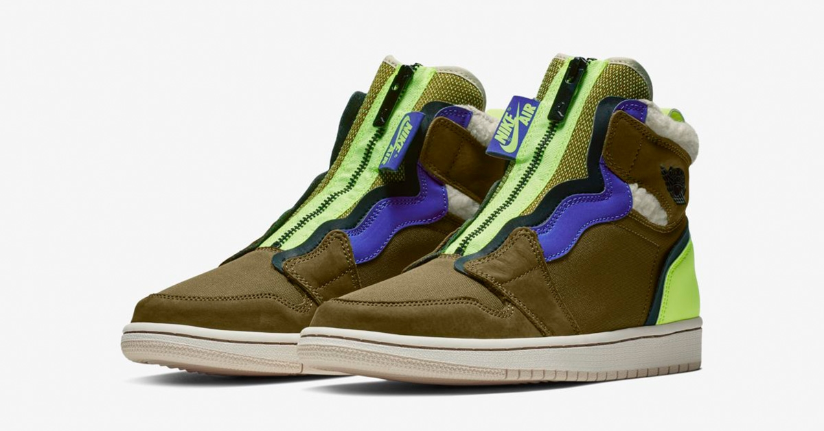 Nike Air Jordan 1 High Zip Olive Flak til kvinder