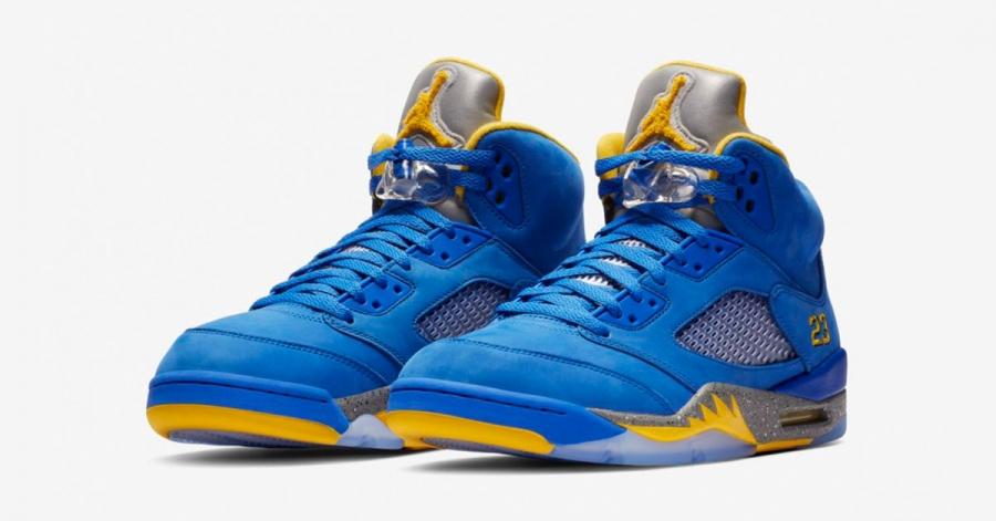 Nike Air Jordan 5 Blå Gul