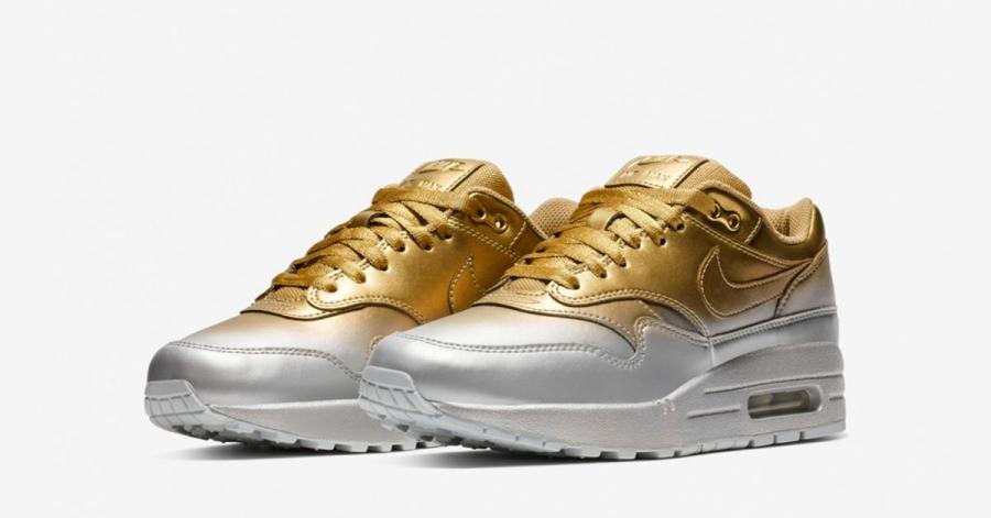Nike Air Max 1 Guld Platin til Kvinder 917691-700
