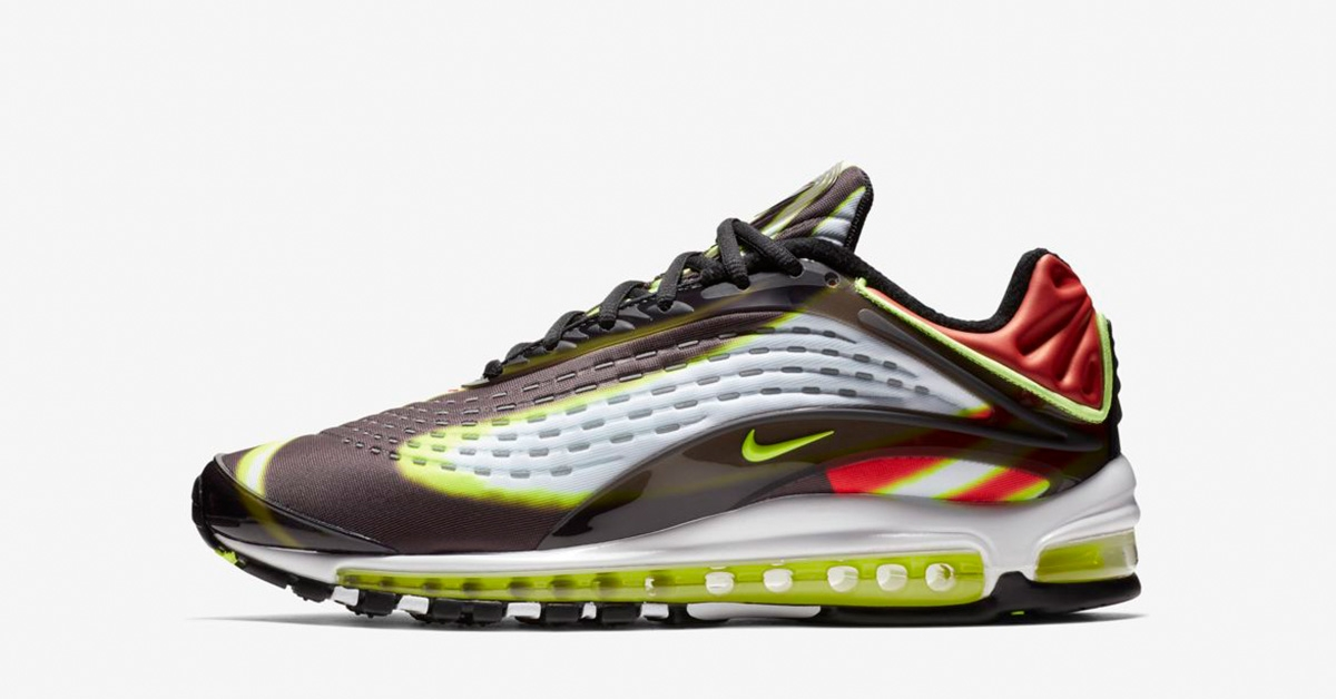 Nike Air Max Deluxe Black Habanero Red White Volt