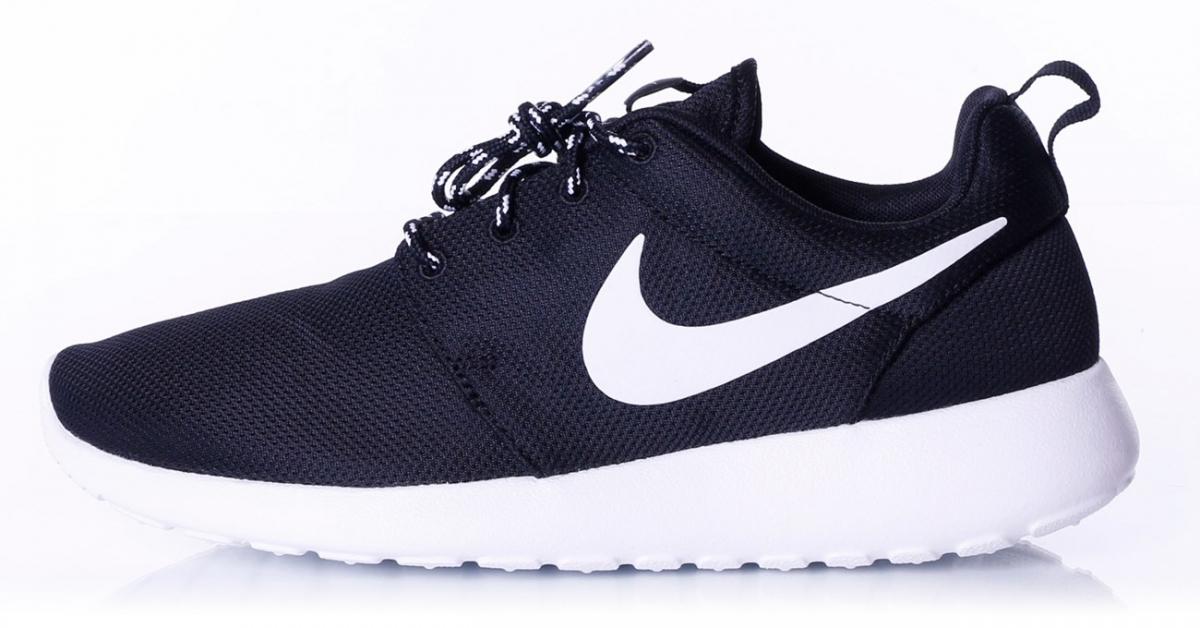 Dame Nike Roshe Run Hvid Sort Sko