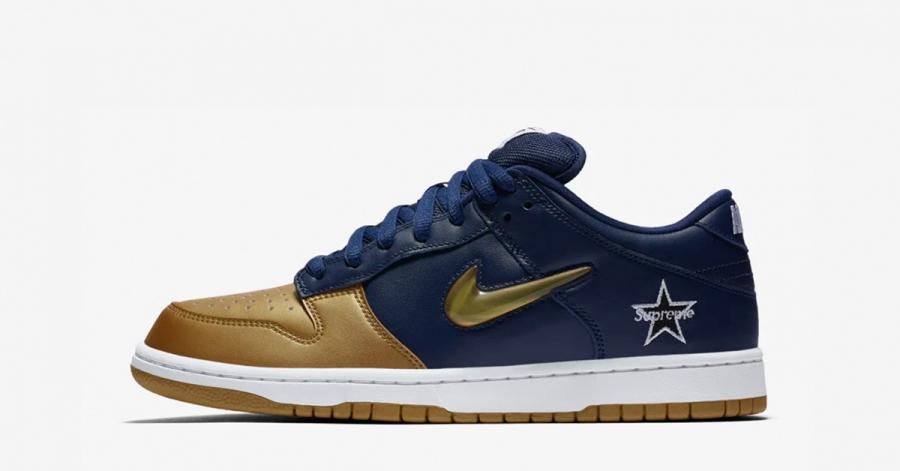 Supreme x Nike SB Dunk Low Blå Guld