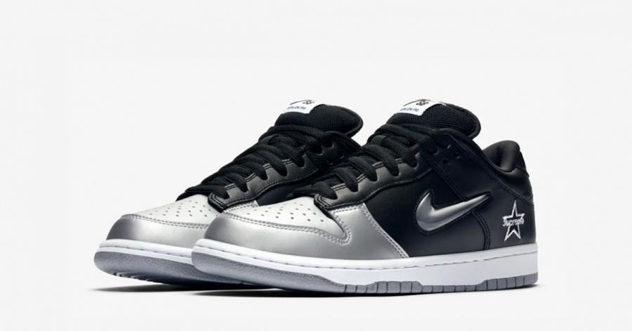 Supreme x Nike SB Dunk Low Sølv Sort